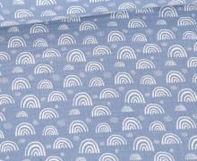 Musselin - Muslin - Kleine Regebögen - Double Gauze - Hellblau