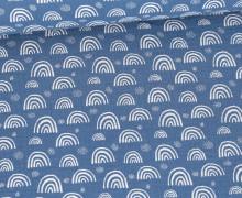 Musselin - Muslin - Kleine Regebögen - Double Gauze - Jeansblau