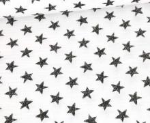 Musselin - Muslin - Wie Gemalte Sterne - Double Gauze - Weiß