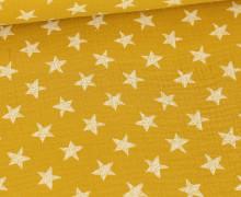 Musselin - Muslin - Wie Gemalte Sterne - Double Gauze - Senfgelb