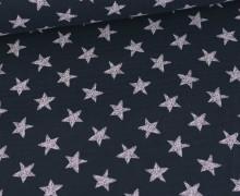 Musselin - Muslin - Wie Gemalte Sterne - Double Gauze - Stahlblau