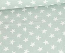 Musselin - Muslin - Wie Gemalte Sterne - Double Gauze - Pastelllichtgrün