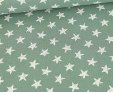 Musselin - Muslin - Wie Gemalte Sterne - Double Gauze - Lichtgrün