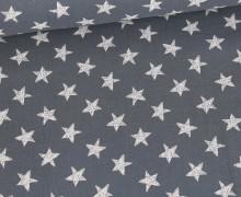 Musselin - Muslin - Wie Gemalte Sterne - Double Gauze - Dunkelgrau
