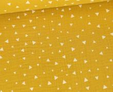 Musselin - Muslin - Kleine Dreiecke - Double Gauze - Senfgelb