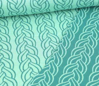 Bio-Jacquard Stepp-Jersey - Plait Doubleface-  Sweet Home - Mint - Hamburger Liebe