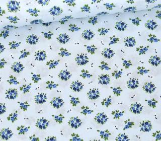 Baumwolle - Webware - Little Cute Roses - Pastellblau