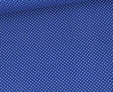 Baumwolle – Webware – Weiß Gepunktet – Royalblau