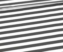 Sommersweat - French Terry - 1cm breite Streifen - Weiß/Dunkelgrau