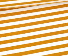 Sommersweat - French Terry - 1cm breite Streifen - Weiß/Senfgelb