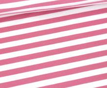 Sommersweat - French Terry - 1cm breite Streifen - Weiß/Altrosa