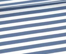 Sommersweat - French Terry - 1cm breite Streifen - Weiß/Taubenblau