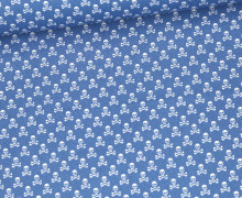 Baumwolle - Webware - Weiße Kleine Totenköpfe - Himmelblau