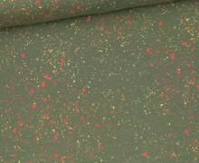 Jersey - Sprenkel - Gesprenkelt - Olivgrün/Pastellgelb/Lachsrosa