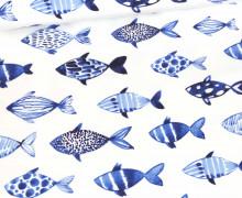 Sommersweat - Fische Aquarell - Weiß - Bio Qualität - abby and me