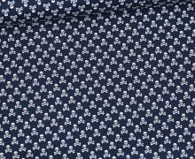 Baumwolle - Webware - Weiße Kleine Totenköpfe - Stahlblau