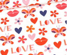 Jersey - Retro Love - Butterfly - Bio-Qualität - Weiß - abby and me