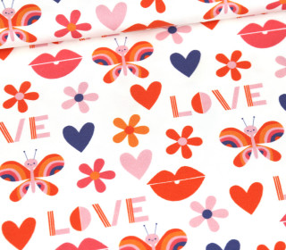 Jersey - Retro Love - Butterfly - Bio-Qualität - Weiß - abby and me