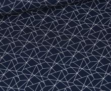 Baumwolle - Webware - Geometrisches Muster - Stahlblau