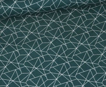 Baumwolle - Webware - Geometrisches Muster - Petrol