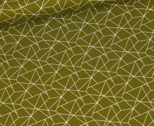 Baumwolle - Webware - Geometrisches Muster - Olivgrün Hell