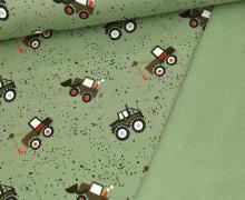 Leichter Kuschelsweat - Baufahrzeuge - Little Darling - Lichtgrün