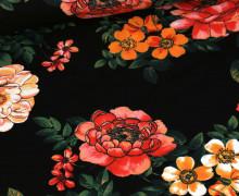 Jersey – Große Blüten – Schwarz