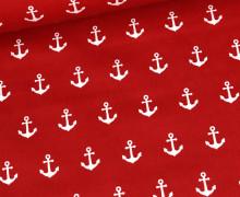 Beschichtete Baumwolle - Weiße Medium-Anker - Rot/Weiß