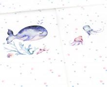 Sommersweat - Sea Animals - Paneel - Weiß - Bio Qualität - abby and me
