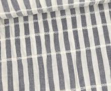Baumwolle - Leinenoptik - Slub Streifen - Gestreift - Warmweiß/Stahlblau