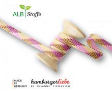 Flechtkordel - Hoodiekordel - Plaid - Flach - Shine - Twist Me - Hamburger Liebe - Weiß/Maisgelb/Bordeaux/Pink