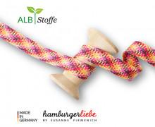 Flechtkordel – Hoodiekordel – Check – Flach – Twist Me – Shine – Maisgelb/Pastellgelb/Bordeaux/Magenta/Pink/Silber – Hamburger Liebe