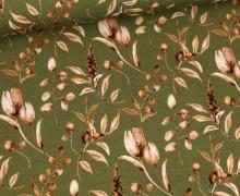 Jersey - Vintage Flowers - Olivgrün
