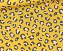 Baumwolle - Webware - Poplin - Animal Print Big - Senfgelb