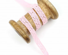 1 Meter Spitzenband - Baumwolle - 10mm - Babyrosa