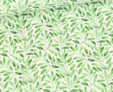 Musselin - Muslin - Double Gauze - Bedruckt - Grüne Blätter - Warmweiß