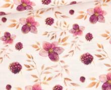 Musselin - Muslin - Double Gauze - Bedruckt - Blüten,Blätter & Himbeeren - Warmweiß