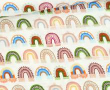Musselin - Muslin - Double Gauze - Bedruckt - Kunterbunte Regenbögen - Warmweiß