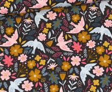 Babycord - Feincord - Flowers & Birds - Schwarz