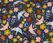 Babycord - Feincord - Flowers & Birds - Dunkelblau