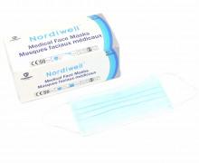 50 Medizinische Masken - 3 Lagig - Flexibler Nasenbügel - Einwegmaske - Hellblau