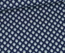 Baumwolle - Webware - Natural Beauty - Stahlblau - Grafische Blütentropfen - Gütermann