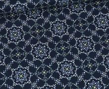 Baumwolle - Webware - Natural Beauty - Stahlblau - Filigranes Blumenmuster - Gütermann