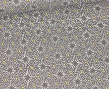 Baumwolle - Webware - Natural Beauty - Grau - Grafische Blüten - Gütermann