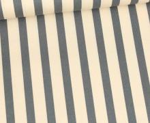 Baumwolle - Webware - Leicht Elastisch - Streifen - Fibre Mood - Creme/Dunkelgrau