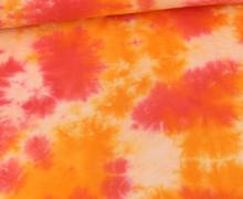 Musselin - Muslin - Double Gauze - Batik Design Multicolored - Weiß/Orange/Orange Dunkel/Rot