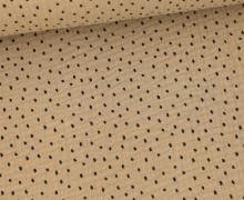 Musselin - Muslin - Schwarze Punkte - Double Gauze - Beigebraun