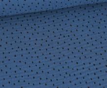 Musselin - Muslin - Schwarze Punkte - Double Gauze - Jeansblau