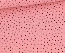 Musselin - Muslin - Schwarze Punkte - Double Gauze - Rosa
