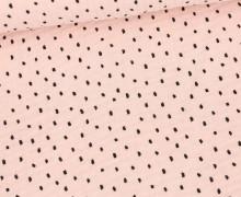 Musselin - Muslin - Schwarze Punkte - Double Gauze - Blassrosa